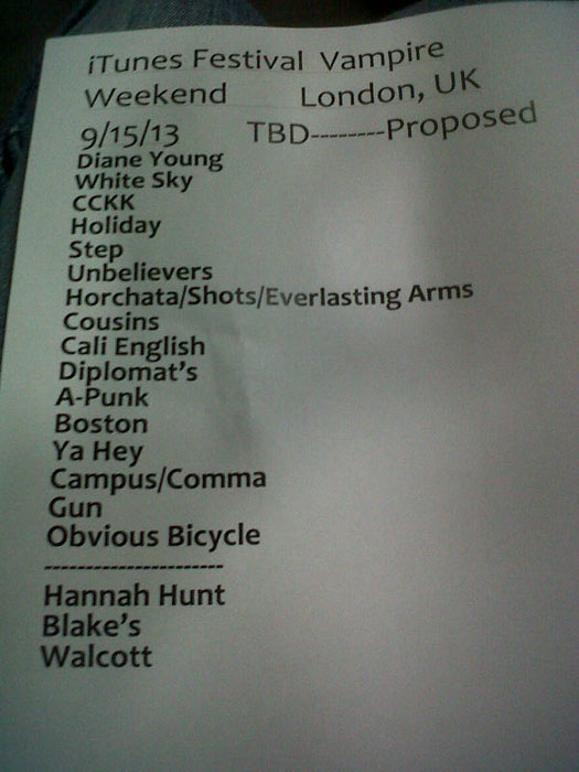 Vampire Weekend's setlist from iTunes Festival