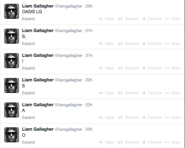 Liam Gallagher Oasis tweet