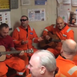 Oil rig workers sing Oasis