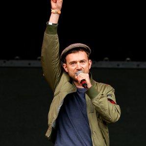 Damon Albarn addresses crowd at Glastonbury 2016