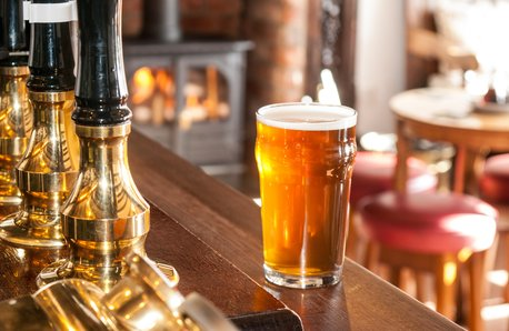 Pub beer pump bar stock image