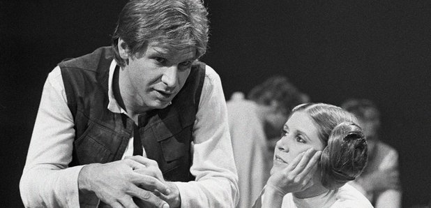 Harrison Ford Carrie Fisher on Star Wars set