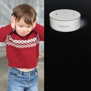 Toddler stock image with Amazon Echo Alexa Image