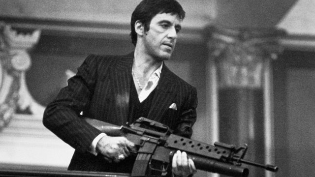 an analysis of scarface a film starring al pacino Brian de palma's scarface rises or falls with al pacino's performance, which is aggressive, over the top, teeth-gnashing, arm-waving, cocaine-snorting, scenery .