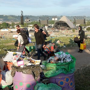 Glastonbury 2017 Pyramid stage with rubbish